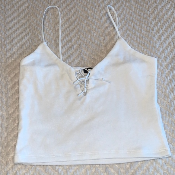 Lace up white tank